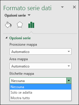 Opzioni Etichetta del grafico a mappa di Excel