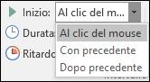 Opzioni di avvio per le animazioni in PowerPoint