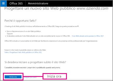 Nella pagina Disegna un nuovo sito Web pubblico scegliere Inizia ora