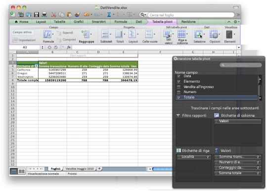 Cartella di lavoro di Excel che mostra la nuova interfaccia di tabella pivot