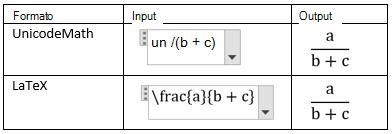 Creare frazioni in lineare