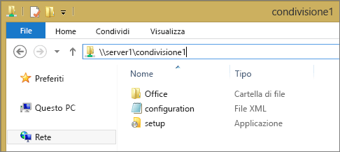 Cartella dei file di installazione di Office 365