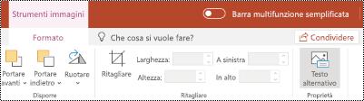Pulsante testo alternativo sulla barra multifunzione per un'immagine in PowerPoint online.