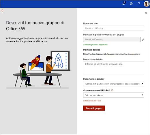 Questa è la pagina delle proprietà di nuovo gruppo di Office 365.