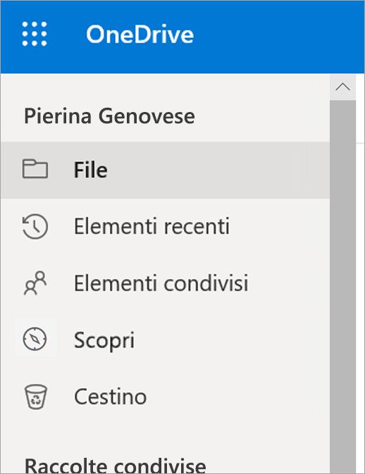 Menu Visualizza in OneDrive