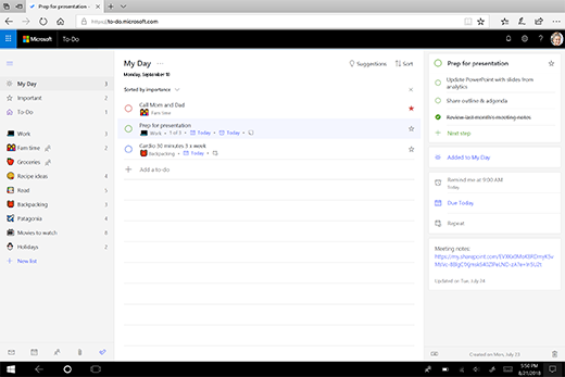 Schermata di My Day in nuovo web app