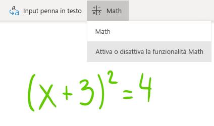 Opzione pulsante Matematica in OneNote per Windows 10