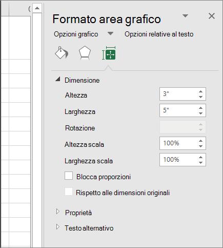 È possibile modificare le dimensioni del grafico nella finestra di dialogo Formato Area grafico