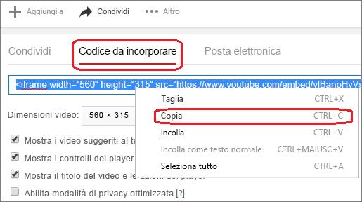 Copiare il codice di incorporamento iFrame