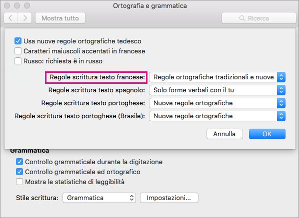 Selezionare le regole per controllare l'ortografia in francese nell'elenco Regole scrittura testo francese.