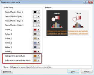 Modificare il colore del testo di un collegamento ipertestuale