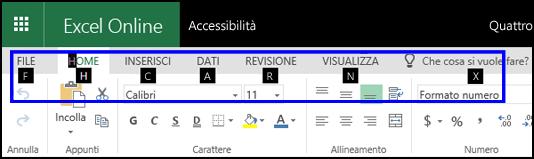 Barra multifunzione di Excel Online con la scheda Home e suggerimenti tasto di scelta su tutte le schede