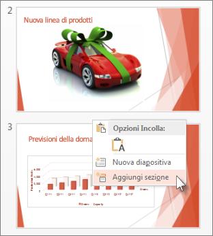 Fare clic tra due diapositive per inserire una sezione