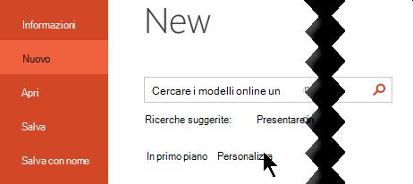 In file > nuovo selezionare l'opzione personalizzata per visualizzare i modelli personali