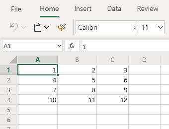 Dati di Excel non formattati come tabella