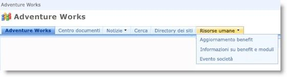 Menu a discesa nella barra dei collegamenti superiore che visualizza i siti secondari del sito corrente