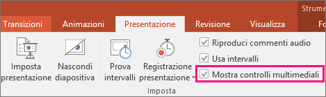 Opzione Mostra controlli multimediali in PowerPoint
