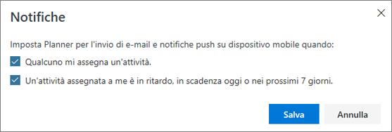 Schermata della finestra di dialogo notifiche