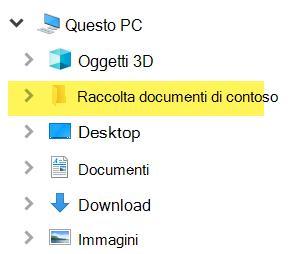 In Esplora file la raccolta mappata viene visualizzata come voce della cartella in Questo PC.