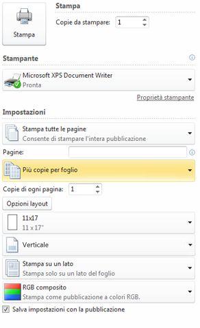 Stampa di più pagine per foglio