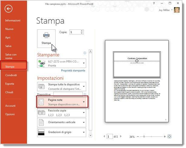 stampare le pagine note