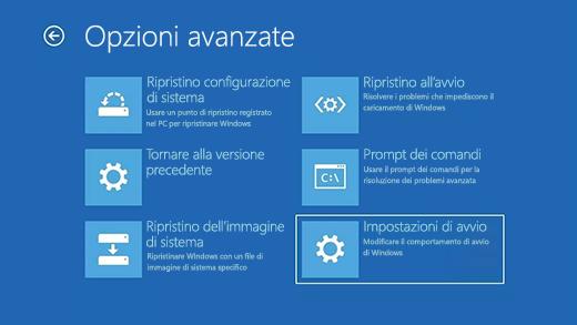 Schermata Opzioni avanzate in Ambiente ripristino Windows.