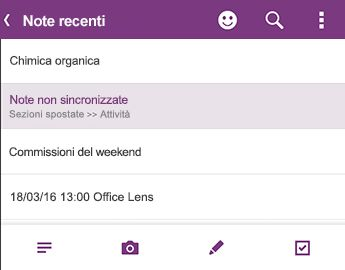 Elenco Note recenti in OneNote per Android