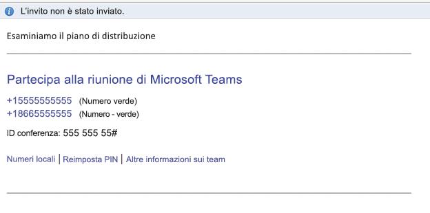 Collegamento Partecipa alla riunione di Microsoft Teams nel corpo dell'evento