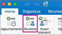 Pulsante Riunione in Mac 2016