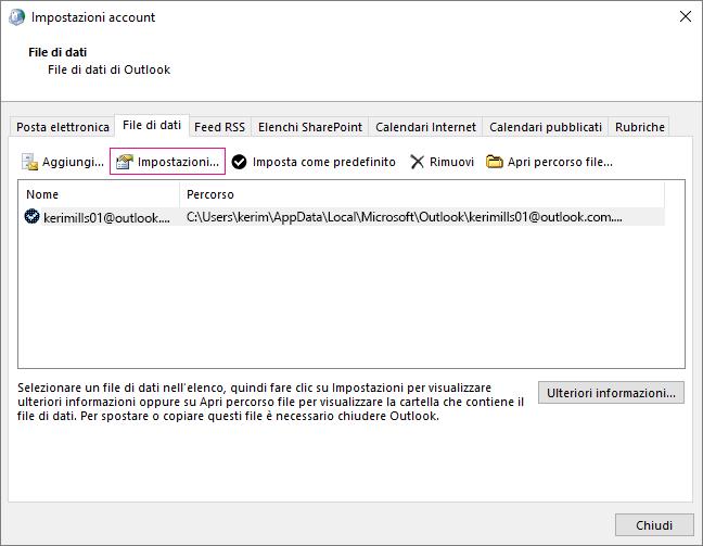 In Impostazioni account, modificare le impostazioni dei file di dati per un account di Exchange