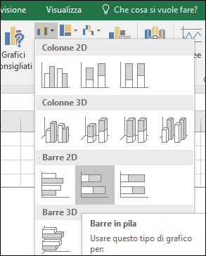 A barre in pila in Excel 2016