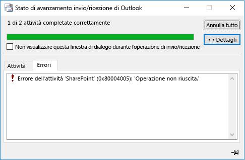 Errore durante la connessione a una raccolta documenti di SharePoint