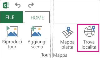 Pulsante Trova località nella scheda Home di Power Map