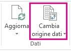 pulsante cambia origine dati nella scheda analizza di strumenti tabella pivot