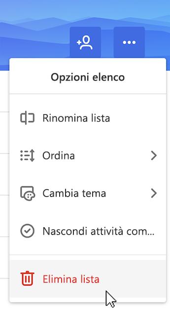 Screenshot con l'opzione Elimina elenco selezionata