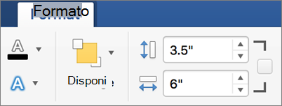Specificare valori di altezza e larghezza