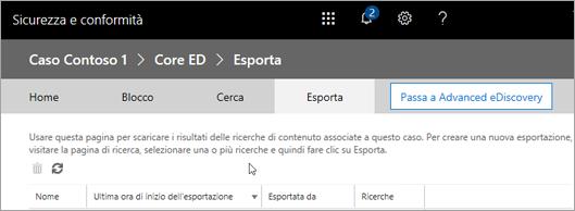 Fare clic su Esporta per visualizzare un elenco dei processi di esportazione