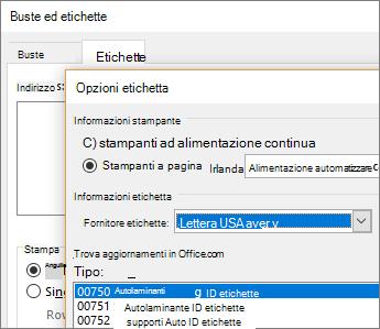 Scelta di un layout compatibile con Avery nella finestra di dialogo Opzioni etichette