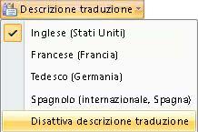 opzione disattiva descrizione comando traduzione