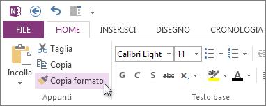 Copiare la formattazione del testo con Copia formato.