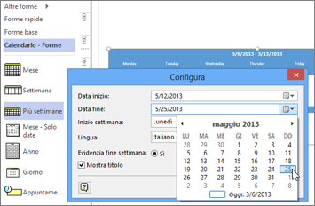 Creare un calendario in Visio