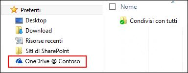 Raccolta sincronizzata di OneDrive for Business nei Preferiti di Windows