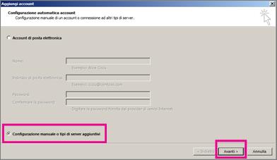 Usare la configurazione manuale in Outlook 2013