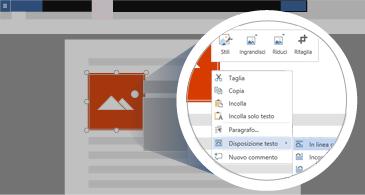 Documento con un'immagine selezionata e un'area ingrandita che mostra tutte le opzioni disponibili per la modifica dell'immagine
