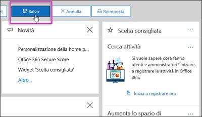 Pulsante Salva evidenziato sulla barra Personalizza della home page del Centro sicurezza e conformità