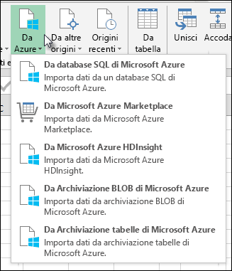 Importazione di Power Query dalla finestra di dialogo Azure
