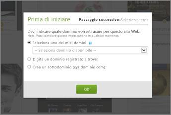 In GoDaddy First things first, selezionare un dominio nell'elenco a discesa