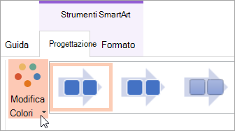 Mostra il pulsante Cambia colori nella scheda Progettazione
