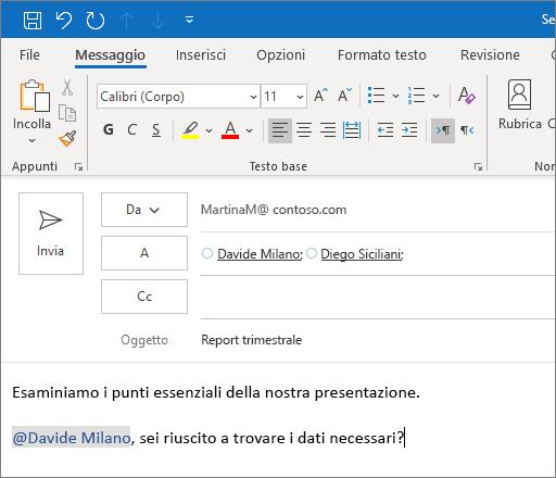 Caratteristica Menzione con @ in Outlook