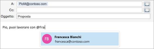 Aggiungere tag usando la @menzione.